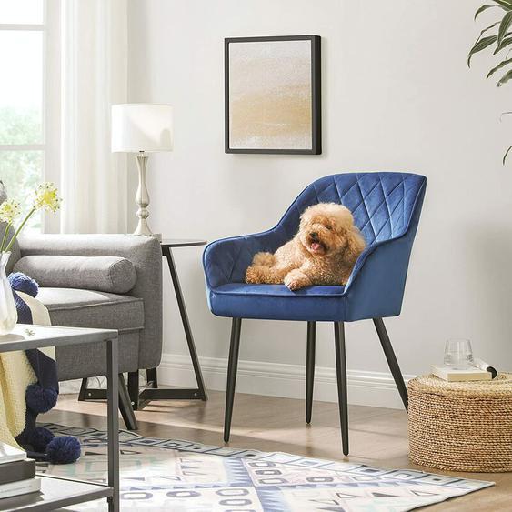 Esszimmerstuhl, Sessel, Polsterstuhl mit Armlehnen, Sitzbreite 49 cm, Metallbeine, Samtbezug, bis 110 kg belastbar, für Arbeitszimmer, Wohnzimmer, Schlafzimmer, Blau LDC088Q01 - Blau