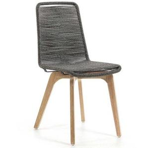 Esszimmerstuhl Set aus Kordel Geflecht Eukalyptusholz (2er Set)
