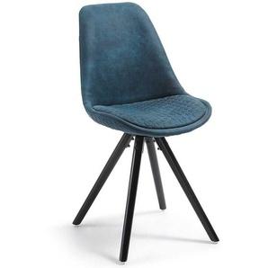 Esszimmerstuhl Set in Blau Stoff Schalensitz (4er Set)