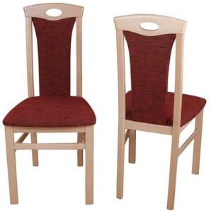 Esszimmerstuhl Set in Rot Stoff Buche Massivholz (2er Set)