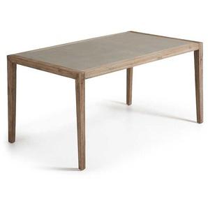 Esszimmertisch aus Akazie Massivholz Leichtbeton beschichtet