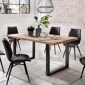 Esszimmertisch aus Eiche Massivholz Schwarz Eisen
