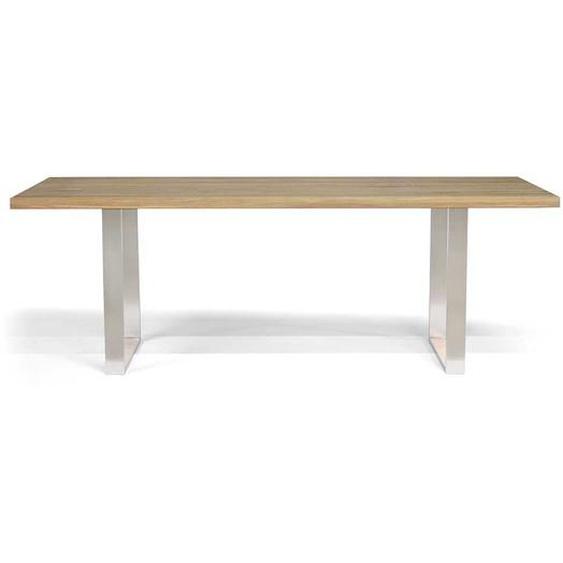 Esszimmertisch aus Eiche Massivholz und Edelstahl handgearbeitet