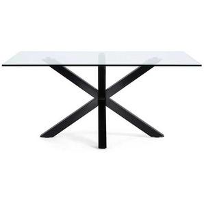 Esszimmertisch aus Glas Stahl Schwarz