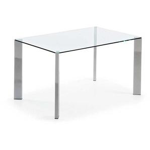 Esszimmertisch aus Glas verchromtem Stahl