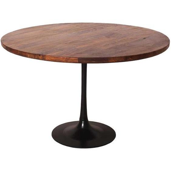 Esszimmertisch aus Mangobaum Massivholz und Stahl rund