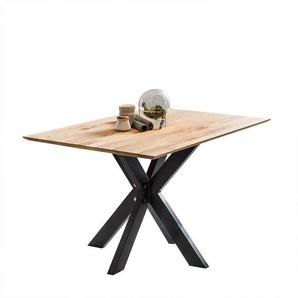 Esszimmertisch aus Wildeiche Massivholz Spider Gestell aus Metall