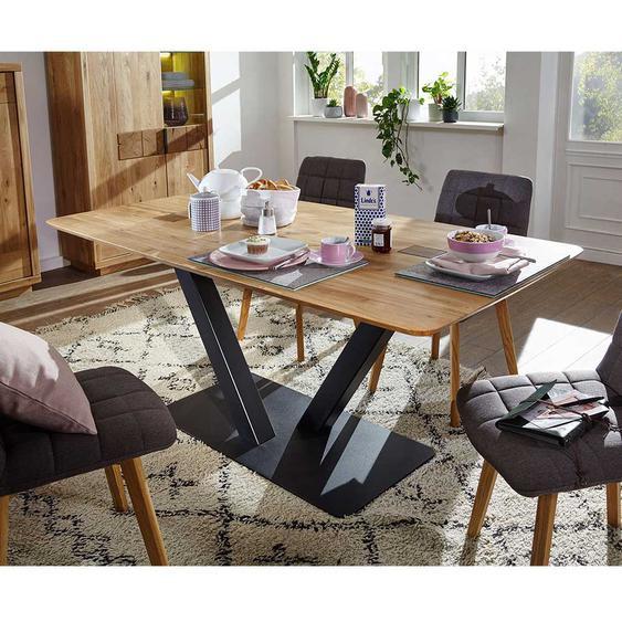 Esszimmertisch aus Wildeiche Massivholz und Metall 75 cm hoch