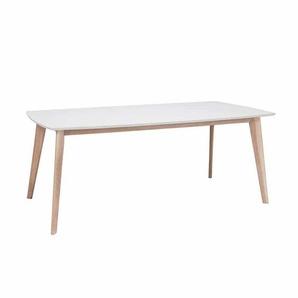 Esszimmertisch in Weiß mit Eiche Holzbeinen