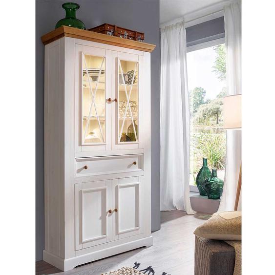 Esszimmervitrine in Weiß Glastüren und einer Schublade