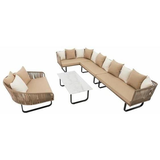 Polyrattan Luxus Lounge Set Gartenmöbel Sitzgruppe Couch Garnitur Sofa Tisch