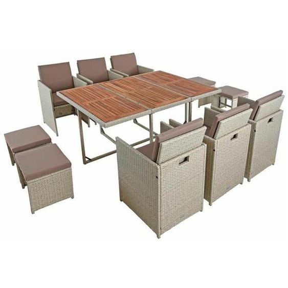 Polyrattan Sitzgruppe Gartenmöbel Set Rattanmöbel 10 Personen Gartenset Beige