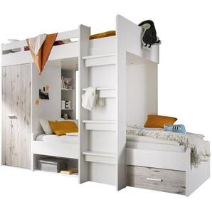 Etagenbett Hampton mit Regal und Schubladen, 90 x 200 cm
