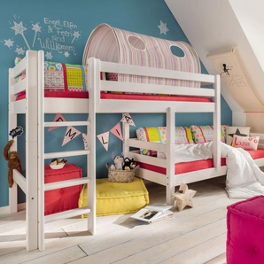 Etagenbett Kids Paradise für Dachschrägen, weiß mit Holzstruktur, 90x200 cm