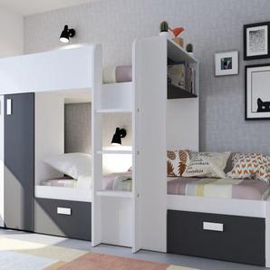 Etagenbett mit Kleiderschrank JULIEN - 2x90x190cm - Weiß/Schwarz