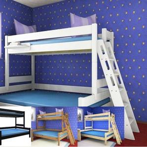 Etagenbett Stockholm 4-1-L2 Dahlhaus Kiefer weiß, natur, blau, schwarz, gelaugt