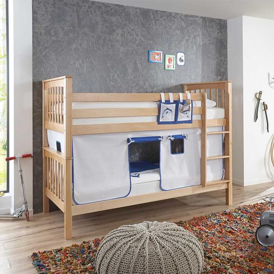 Etagenhochbett aus Buche Massivholz Vorhang in Blau