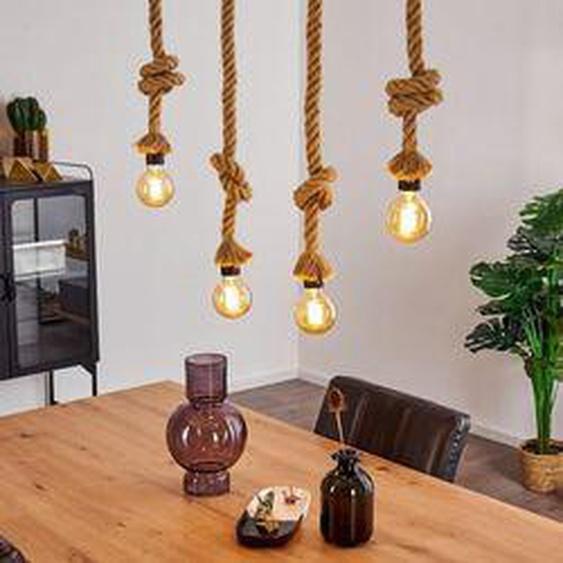 Etowah Pendelleuchte Schwarz, Braun, 4-flammig - Vintage/Boho Style - Innenbereich - versandfertig innerhalb von 2-4 Werktagen