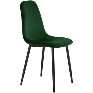 Eva - Esszimmerstuhl, Samt, dunkelgrün