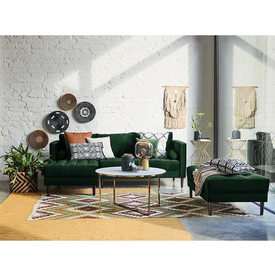 Eva Padberg Collection Ecksofa Laona Dunkelgrün Samt 201x80x155 cm