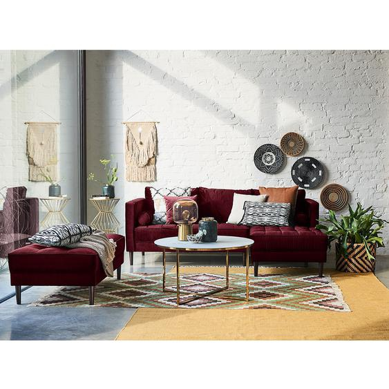 Eva Padberg Collection Ecksofa Laona Weinrot Samt 201x80x155 cm