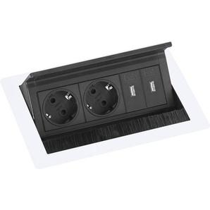 EVOline Flip Top Push S 2xSchuko + 2x USB-Charger weiß