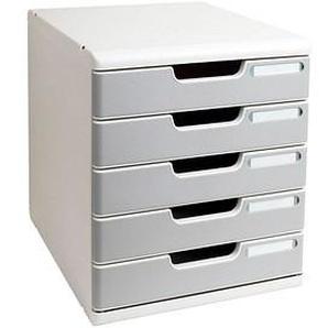 Exacompta Schubladenbox Modulo steingrau DIN A4 mit 5 Schubladen