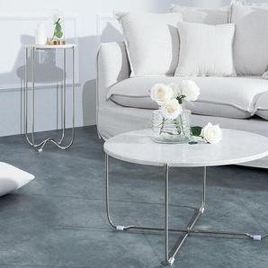 Exklusiver Couchtisch NOBLE 62cm aus hochwertig verarbeitetem weißen Marmor