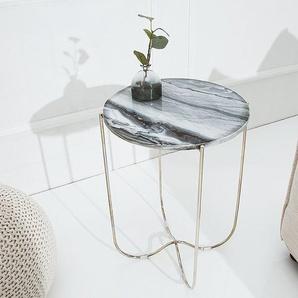 Exklusiver Couchtisch NOBLE III 43cm grau echter Marmor hochwertig verarbeitet