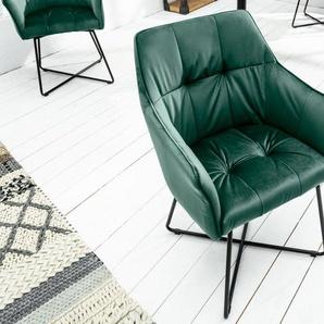 Exklusiver Design Stuhl LOFT grün Samt mit Armlehne
