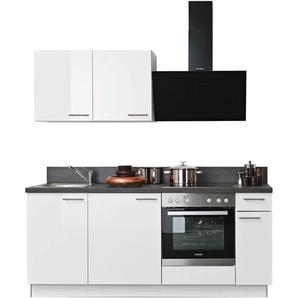 Express Küchen Küchenzeile Scafa, ohne E-Geräte, vormontiert, mit Vollauszug und Soft-Close-Funktion, Breite 200 cm B: cm, Spüle links weiß Küchenzeilen Geräte -blöcke Küchenmöbel