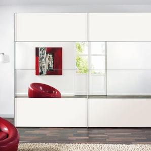 Express Solutions Schwebetürenschrank, Breite 250 cm, weiß, mit Spiegelelementen