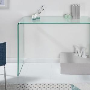 Extravaganter Glas Konsolentisch FANTOME 100cm transparent Schreibtisch Ganzglastisch