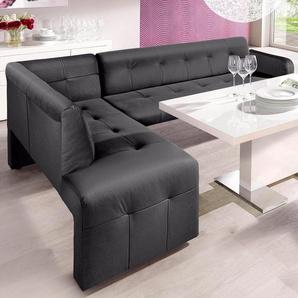 exxpo - sofa fashion Eckbank Barista, Frei im Raum stellbar B/H/T: 197 cm x 82 265 cm, Luxus-Microfaser, langer Schenkel (Armlehne) rechts grau Eckbänke Sitzbänke Stühle