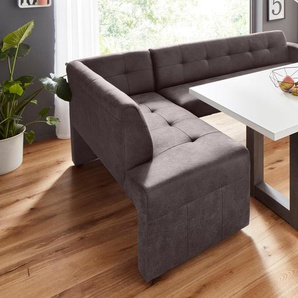exxpo - sofa fashion Eckbank Barista, Frei im Raum stellbar B/H/T: 197 cm x 82 265 cm, Luxus-Microfaser, langer Schenkel rechts braun Sitzbänke Nachhaltige Möbel