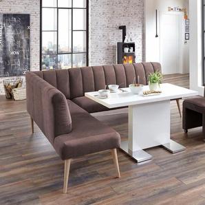 exxpo - sofa fashion Eckbank Costa, Frei im Raum stellbar B/H/T: 197 cm x 92 265 cm, Struktur, Ottomane links, langer Schenkel rechts braun Eckbänke Sitzbänke Stühle