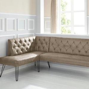exxpo - sofa fashion Eckbank Doppio, Frei im Raum stellbar B/H/T: 158 cm x 90 236 cm, Microfaser Antiklederoptik, langer Schenkel rechts braun Eckbänke Sitzbänke Stühle