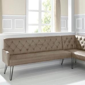 exxpo - sofa fashion Eckbank Doppio, Frei im Raum stellbar B/H/T: 197 cm x 90 255 cm, Microfaser Antiklederoptik, langer Schenkel links braun Eckbänke Sitzbänke Stühle