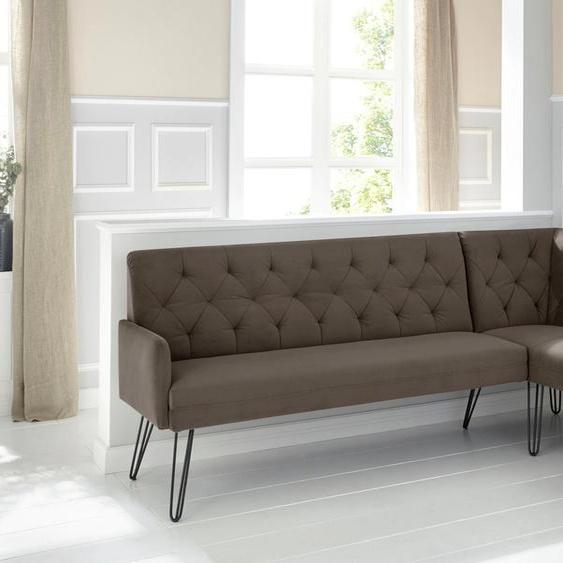 exxpo - sofa fashion Eckbank Doppio Samtvelours, langer Schenkel links, 158cm braun Eckbänke Sitzbänke Stühle