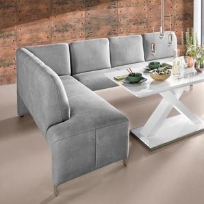 exxpo - sofa fashion Eckbank Intenso, Frei im Raum stellbar B/H/T: 197 cm x 91 264 cm, Luxus-Microfaser, Ottomane links, (langer Schenkel rechts) grau Sitzbänke Nachhaltige Möbel