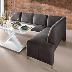 exxpo - sofa fashion Eckbank Intenso, Frei im Raum stellbar B/H/T: 197 cm x 91 264 cm, Luxus-Microfaser, Ottomane rechts, (langer Schenkel links) braun Sitzbänke Nachhaltige Möbel