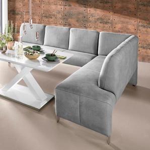 exxpo - sofa fashion Eckbank Intenso, Frei im Raum stellbar B/H/T: 197 cm x 91 264 cm, Luxus-Microfaser, Ottomane rechts, (langer Schenkel links) grau Sitzbänke Nachhaltige Möbel