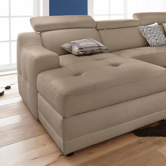 Ecksofa, mit Bettfunktion, mit Federkern, FSC®-zertifiziert, beige, Material Holzwerkstoff, mit Bettkasten, mit Schlaffunktion