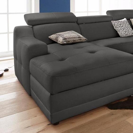 exxpo - sofa fashion Ecksofa, mit Bettfunktion, mit Federkern, FSC®-zertifiziert, schwarz, Material Holzwerkstoff, mit Schlaffunktion mit Bettkasten
