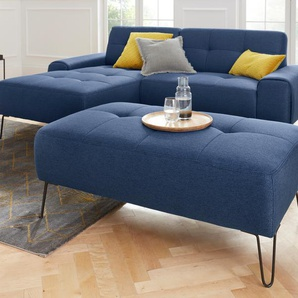 exxpo - sofa fashion Hocker 0, Webvelours blau Polsterhocker Sessel und Sofas Couches