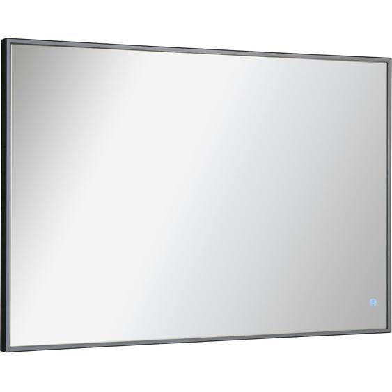 Fackelmann Rahmenspiegel mit Licht eckig 100 cm x 68 cm Schwarz