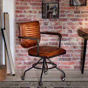Factory Schreibtischstuhl in Braun Leder h�henverstellbar