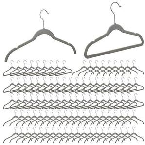 Fadenvorhang »100 x Samt Kleiderbügel grau«, relaxdays