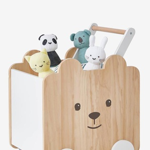 Fahrbare Spielzeugkiste, Teddy natur/weiß