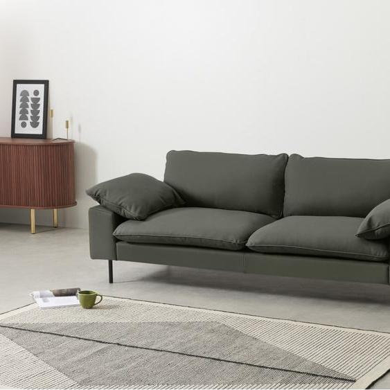 Fallyn 3-Sitzer Sofa, Nubukleder in Dunkelgruen
